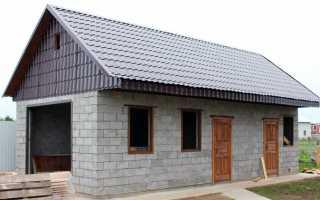 Современный гараж из керамзитобетонных блоков